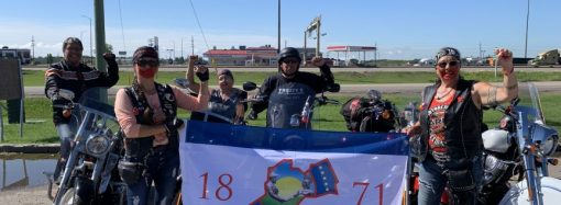 Chief Bone joins MMIWG Medicine Wheel Riders in Brandon, Treaty 2 Territory heading to Winnipeg